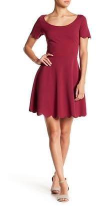 Vanity Room Short Sleeve Scalloped Fit & Flare Dress