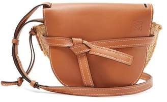 Loewe Gate Leather And Raffia Cross Body Bag - Womens - Tan Multi