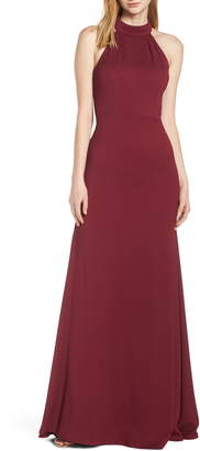 Paige Hayley Occasions Mock Neck Strappy Back Crepe Evening Dress