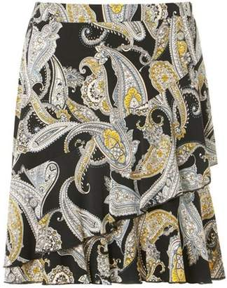 Dorothy Perkins Womens Black Paisley Print Frilled Mini Skirt