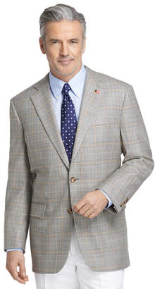 Brooks Brothers Madison Fit Saxxon Tan Plaid with Blue Rust Deco Sport Coat