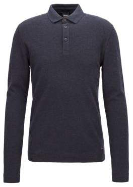 BOSS Hugo Long-sleeved polo shirt in heathered waffle-effect cotton S Dark Blue