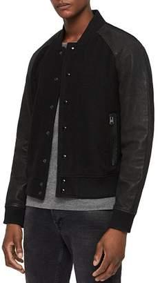 AllSaints Elton Leather-Sleeve Bomber Jacket