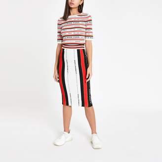 River Island Womens White stripe word print knitted midi skirt