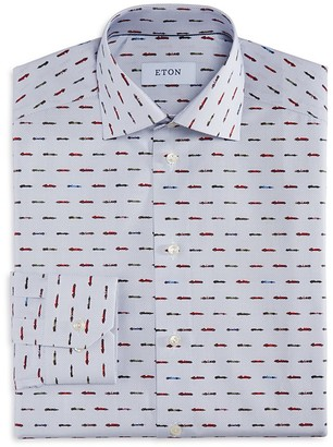 Eton of Sweden Micro Dot Race Car Print Slim Fit Dress Shirt $285 thestylecure.com