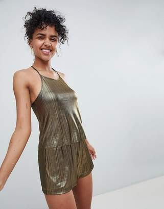 Monki Metallic Cross Back Cami Co-Ord