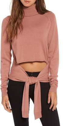 KENDALL + KYLIE Tie Front Turtleneck Sweater