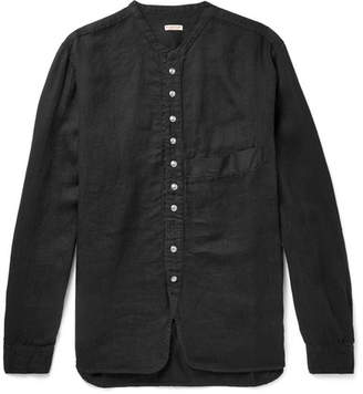 KAPITAL Grandad-Collar Herringbone Cotton-Gauze Shirt