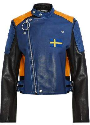 Acne Studios Locke Appliquéd Color-Block Leather Biker Jacket