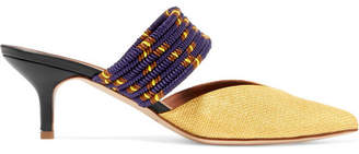 Malone Souliers Maisie Cord-trimmed Raffia Mules - Gold