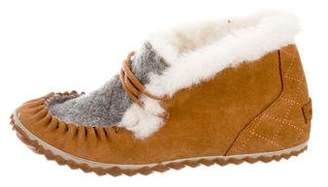 Sorel Suede Faux Fur Ankle Boot