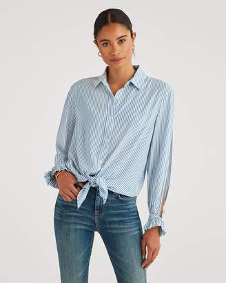 7 For All Mankind Split Sleeve Shirt in Blue and White Stripe