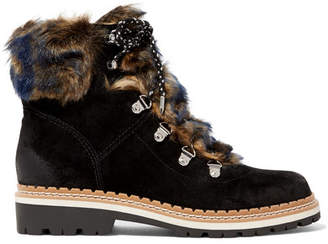 Sam Edelman Bronte Faux Shearling-trimmed Suede Ankle Boots - Black