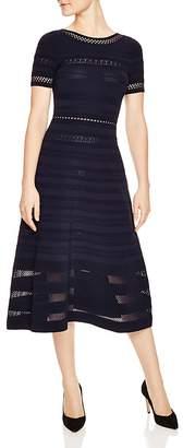 Sandro Roselle Mesh & Eyelet Inset Midi Dress
