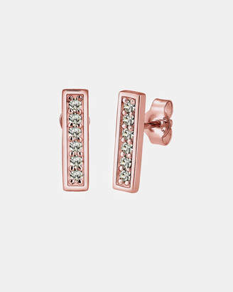 Swarovski Earrings Square Crystals 925 Sterling Silver Rose Gold Plated