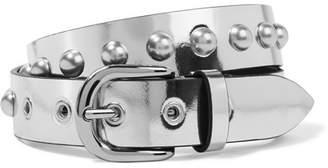 Isabel Marant - Zoa Studded Metallic Leather Belt - Silver $295 thestylecure.com