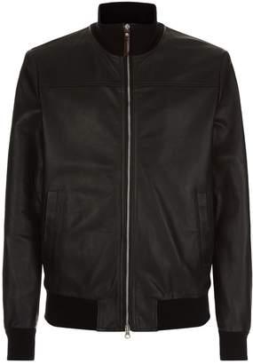 La Martina Leather Bomber Jacket