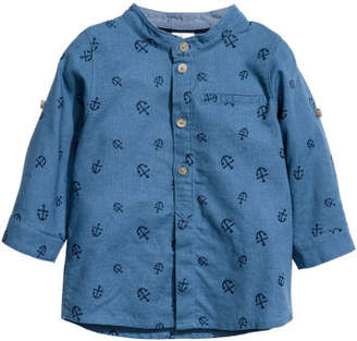 H&M Shirt with Band Collar - Blue