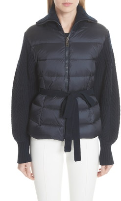 Moncler Maglione Quilt Front Belted Wool & Cashmere Cardigan