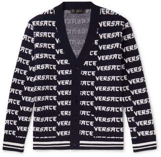 Versace Logo-Jacquard Wool Cardigan