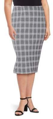 Lord & Taylor Plus Plaid Elongating Bodycon Skirt