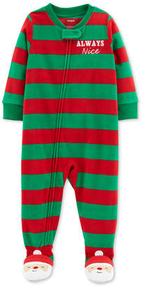 Carter's Toddler Boys Striped Holiday Footed Pajamas