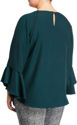 Iconic American Designer Ruffle-Sleeves Crepe Blouse, Plus Size
