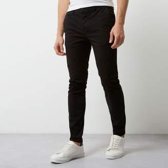 River Island Mens Black super skinny casual chino trousers