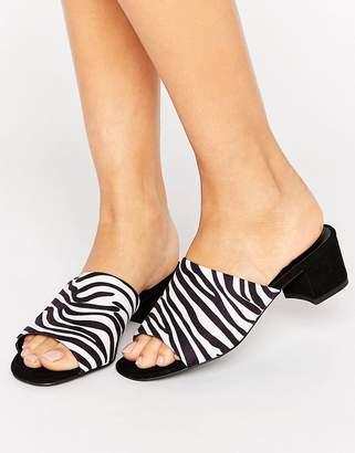 New Look Suedette Zebra Heeled Mule