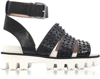 RED Valentino Black Leather Flat Sandals W/studs
