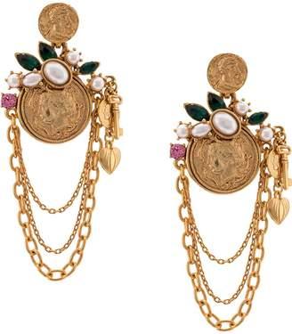 Oscar de la Renta antique coin earring