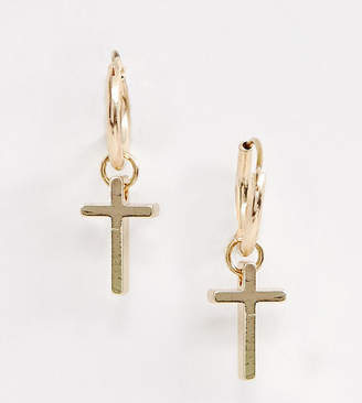 Reclaimed Vintage inspired hoop earring with cross in gold exclusive to asos