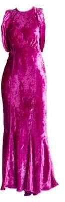ATTICO Velvet Gathered-Sleeve Gown