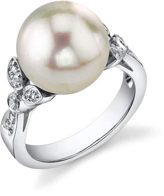 Ariella The Pearl Source 12mm South Sea Cultured Pearl & Diamond Ring in 18K Gold