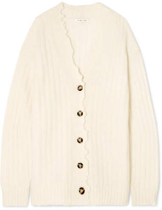 Helmut Lang Oversized Distressed Ribbed-knit Cardigan - Cream