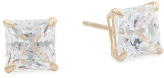 Girls Made In Usa 14k Gold 9mm Square Cz Stud Earrings
