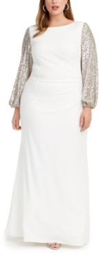 Adrianna Papell Plus Size Sequin-Sleeve Gown