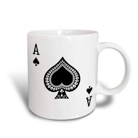 3dRose Ace of Spades playing card - Black spade suit - Gifts for cards game players of poker bridge games, Ceramic Mug, 11-ounce