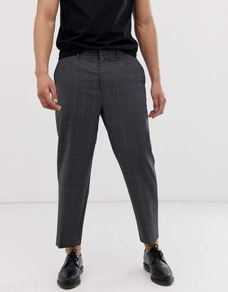 AllSaints checked cropped tapered pants in grey