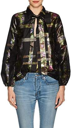 Cynthia Rowley WOMEN'S METALLIC PLAID SILK-BLEND BLOUSE