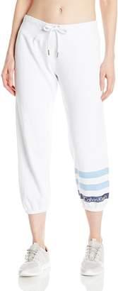 Calvin Klein Women's Metallic Stripe Logo Slim Fit Crop Sweatpant