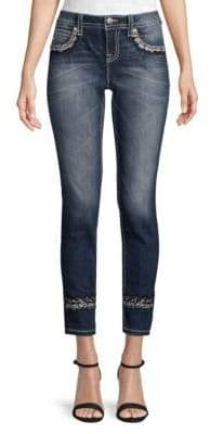 Miss Me Mid-Rise Sparkled Cuffed Skinny Jeans