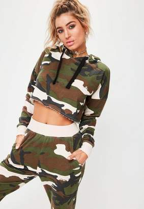Missguided Barbie x Long Sleeve Camo Cropped Hoody Multi