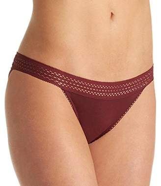 DKNY Women's Classic Cotton Lace Trim Thong