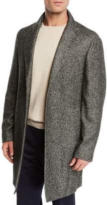 Loro Piana Men's Alpaca Wool Chevron Coat