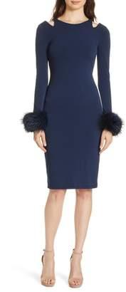 Alice + Olivia Tabitha Genuine Fox Fur Cuff Dress