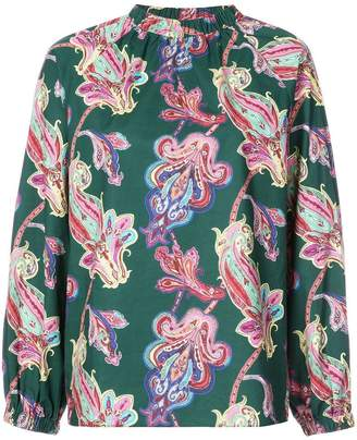 Tibi paisley print shirred neck shirt