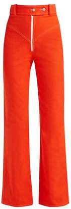 A.W.A.K.E. Mode Exposed Zip Straight Leg Jeans - Womens - Red