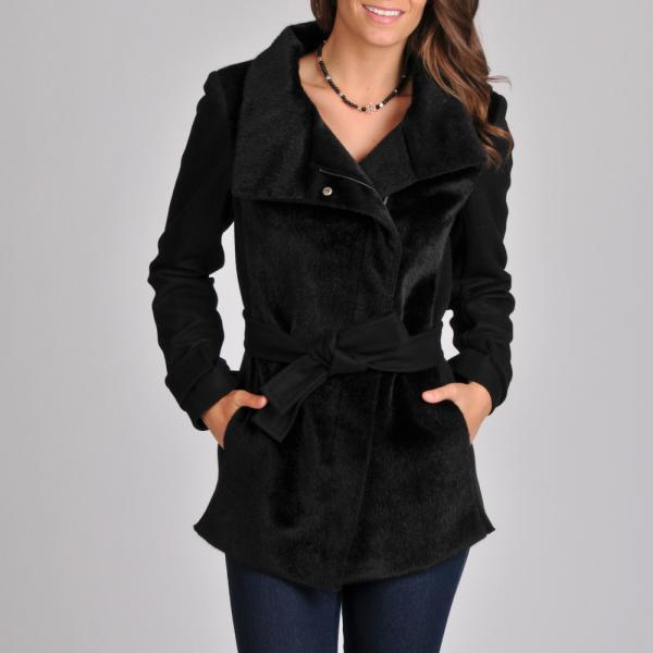 Betsey JohnsonBetsey Johnson Women's Black Faux Fur Mix Media Short Coat