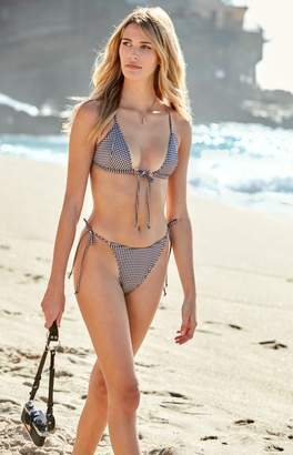 La Hearts Tie Front Triangle Bikini Top